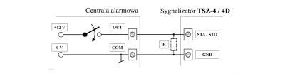 Sygnalizator optyczno akustyczny TSZ 4D - schemat połączenia